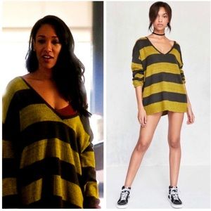 BDG Yellow Stripe Oversized Pullover Sweater XS